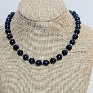Monet Navy Blue & Gold Pearl Necklace
